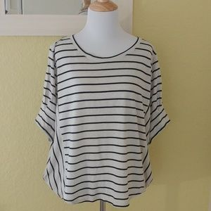 Ann Taylor LOFT Dollmam Sleeve Striped Top